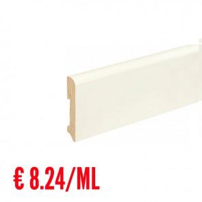 12 ML Battiscopa LISCIO STONDATO legno BIANCO RAL9016 - 96 x 18 mm - Asta 240 cm con Passafilo - CONFEZIONE RISPARMIO