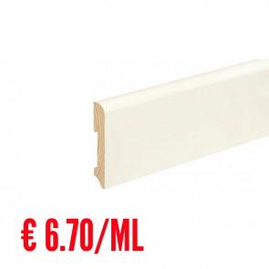 12 ML Battiscopa LISCIO STONDATO legno BIANCO RAL9010 - 96 x 18 mm - Asta 240 cm con Passafilo - CONFEZIONE RISPARMIO