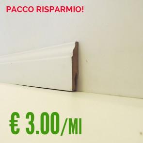 BATTISCOPA BIANCO MDF  sagomato Ducale 14 x 75 mm. asta 2,40 metri - PACCO RISPARMIO 5 PEZZI