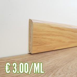 BATTISCOPA ROVERE in Legno impiallacciato 80x13 mm - Asta 2,50 metri