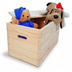 Baule in legno massiccio in kit con coperchio - 80x40x40 cm