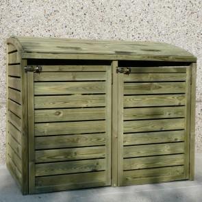 Porta bidoni per esterno doppio 145,6 X 92 X 120 h.cm in legno trattato - RACCOLTA DIFFERENZIATA