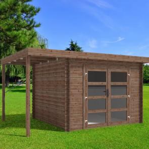 Casetta in legno BELLA 411x300 Cm - Trattamento da esterno ACORD - Con Pergolato