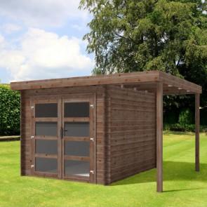 Casetta in legno LIDIA 361X246 Cm - Trattamento da esterno ACORD - Con Pergolato