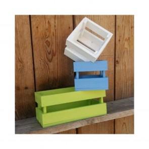Cassetta legno portafiori a listelli Colorati - 6 dimensioni