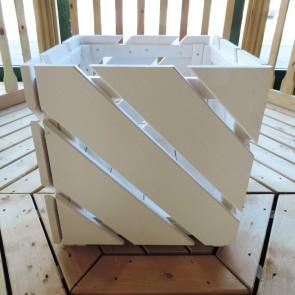Fioriera DIAGO Bianca in legno di pino impregnato 40x40x40 h. cm -Kit di montaggio