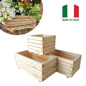 Onlywood Fioriera MARGHERITA in Legno Naturale Made in italy - 3 Dimensioni