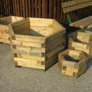 Fioriera LINEA ESAGONALE professionale legno impregnato 90 x 46 h. cm