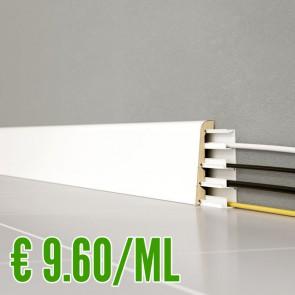 24 ML BATTISCOPA BIANCO MDF liscio 24 x 92 mm con accessorio passafili integrato - CONFEZIONE RISPARMIO