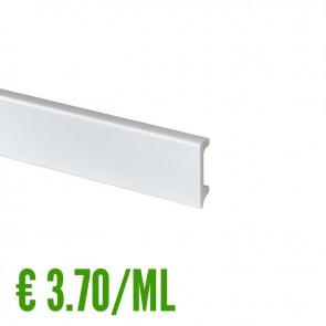 24 ML Battiscopa 100% IMPERMEABILE Bianco PVC 58 x 14,5 mm con passafilo - CONFEZIONE RISPARMIO