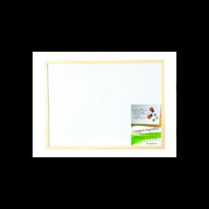 Lavagna magnetica bianca cornice legno naturale cm. 45 x 60