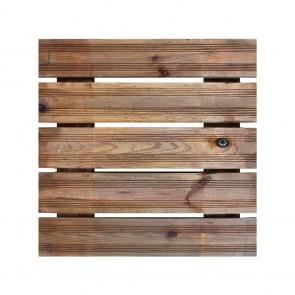 Onlywood Piastrella zigrinata 50x50 in Legno Impregnato verniciata Noce Chiaro - Pavimento da esterno - Spessore 3,8 cm Extra Resistenza