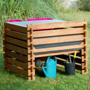ORTO-FIORIERA RIALZATO in legno 112 X 122 cm con kit d'irrigazione