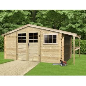 Casetta in legno SAT 464 x 301 x 218 spessore 28 con pergolato