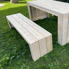 Panca in legno da esterno MADRID - legno di abete massello grezzo 180 x 44 x 43 h cm