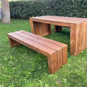 Panca in legno da esterno MADRID - legno di Abete Massello Noce chiaro 180 x 44 x 43 h cm