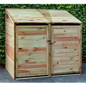 Porta bidoni per esterno doppio 140 X 85 X 135 h.cm in legno trattato - RACCOLTA DIFFERENZIATA