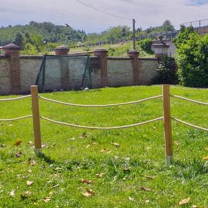Staccionata pali in Pino certificato con corda in canapa naturale