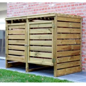 Portabidoni  DOPPIO da esterno in legno impregnato 150 X 82 X 120 h.cm - RACCOLTA DIFFERENZIATA