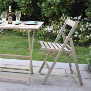 Sedie da giardino pieghevoli in legno di faggio color Tortora - Set 4 sedie 43 x 49 x 79h cm