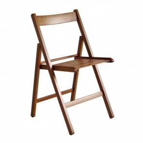 Sedie da giardino pieghevoli in legno di faggio color Noce - Set 4 sedie 43 x 49 x 79h cm