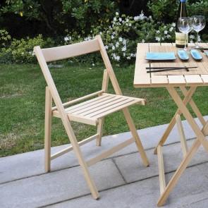 Sedie da giardino pieghevoli in legno di faggio Naturale - Set 4 sedie 43 x 49 x 79h cm
