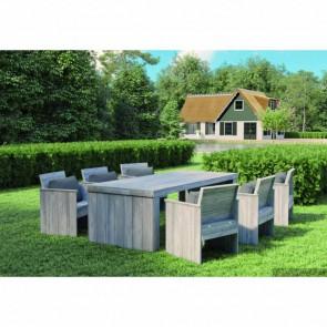 Set tavolo e sedie da giardino in legno rustico Grigio