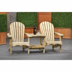 Set tavolo e sedie da giardino in legno di pino impregnato - 175L x 90H cm
