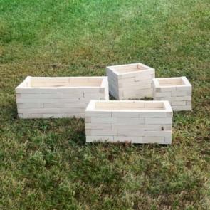 Cassette legno portafiori a mattoncini - 4 dimensioni