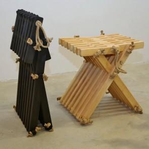 Sgabello Ecochair in legno ontano naturale oliato 49 x 54 x 45 cm