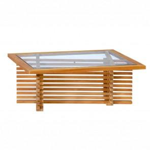 Tavolino in legno da esterno linea Riverside - legno Teak e vetro centrale - 100 x 80 x 39h cm