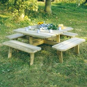 Tavolo da PICNIC QUADRATO in legno impregnato 228 x 228 cm sp.40