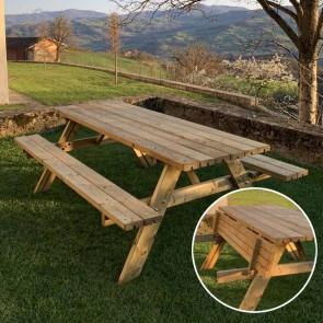 Tavolo da PICNIC EXCELLENT 220x155 cm spessore 4,2 cm - PANCHE PIEGHEVOLI
