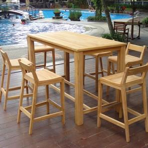 Tavolo alto con sgabelli da esterno - legno teak