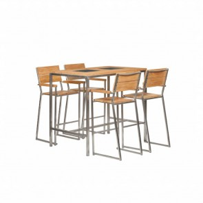 Tavolo alto con sgabelli da esterno - legno teak e acciaio