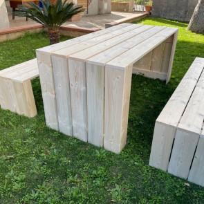 Tavolo in legno da giardino MADRID - legno di Abete Massello Grezzo 180 x 80 x 78 h cm