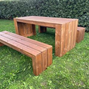 Tavolo in legno da giardino MADRID - legno di Abete Massello Noce chiaro 180 x 80 x 78 h cm