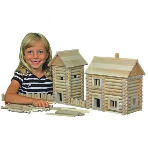 GIOCO COSTRUZIONE per bambini in legno CASE COMPONIBILI con valigetta- 12 Composizioni diverse