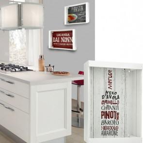 Vassoio decorativo bianco BOTTIGLIA DI VINO in legno 35 x 25 cm
