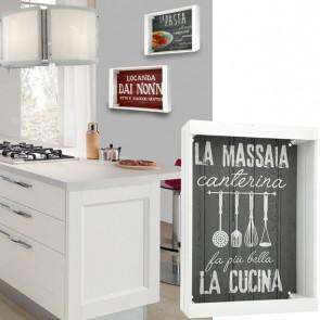 Vassoio decorativo grigio MASSAIA in legno 35 x 25 cm