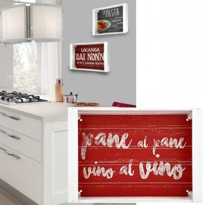 Vassoio decorativo rosso NONNI in legno 35 x 25 cm