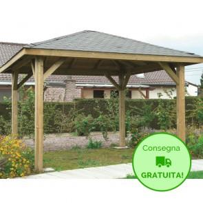 KIOSK Gazebo tetto legno + tegole 437x437 montanti 12x12