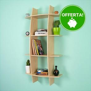 Libreria componibile in legno FANTASIA - 75 x 30 x 150h cm - finitura Acero