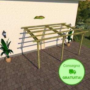 Pergola BASIC addossata 5 x 3 legno classe 3 - portata 50 Kg - ANCHE SU MISURA
