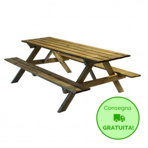 Tavolo da PICNIC in legno impregnato 200 x 139 cm sp.28 mm con Foro per Ombrellone