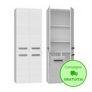 Mobile lavanderia componibile MARIO con 1 Cestello per biancheria - 60 x 30 x 174h cm - Bianco