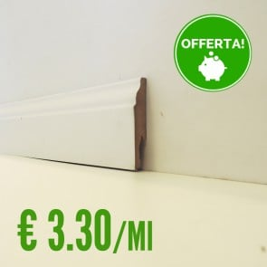 BATTISCOPA BIANCO MDF  sagomato Ducale 14 x 75 mm. asta 2,40 metri
