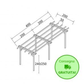 Pergola STANDARD autoportante 4 x 2 legno classe 3 - portata 90 Kg - ANCHE SU MISURA