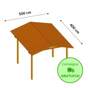 Onlywood Gazebo TIP 5 x 4 tetto in legno antivento - impregnato - personalizzabile