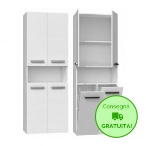 Mobile lavanderia componibile PIERO con 2 Cestelli per biancheria - 60 x 30 x 174h cm - Bianco